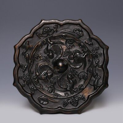 Marvelous Chinese Tang Dynasty Antique Birds Octagonal Old Bronze Mirror SA57