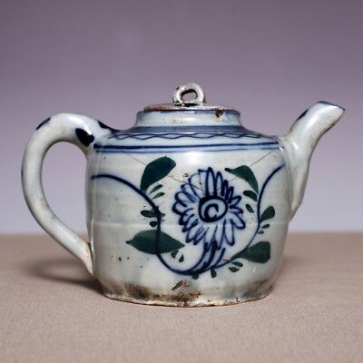 Rare Chinese Qing Dynasty Antique Flowers Characters Porcelain Old Teapot JZ221