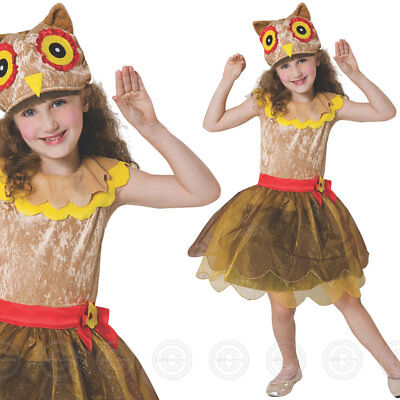 Girls Owl Fancy Dress Costume Wise Animal Bird Nature Outfit Childs Kids New