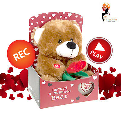 Valentine's Day Love Bear In Gift Box  Record And Play Message Teddy Rose Heart