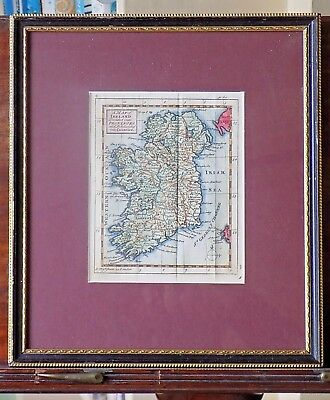 1738 Miniature Map Ireland Cowley Bowen Hubner Old Antique13x10cm Dublin Belfast