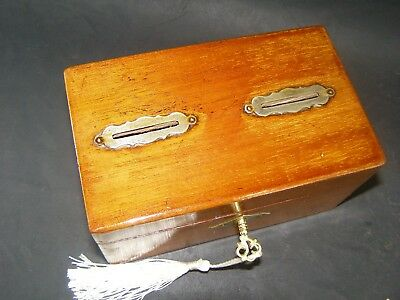 Antique Mahogany Money Box Working Lock & Key c1890 Two Slots Internal Divider