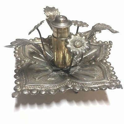 Antique Middle Eastern Large Hammered Repousse Solid Silver Perfume Bottle