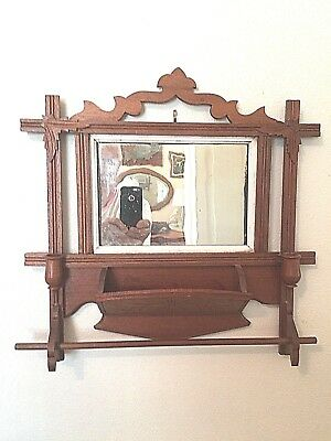 Antique Eastlake shaving mirror w/candle holders, towel bar and accessory shelf