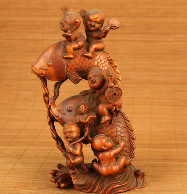 chinese old boxwood hand carved Buddha blessing feng shui statue collectable