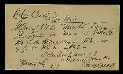 1877 Frederick,MD - C.C. Carty's Furniture Store Order Postal Card