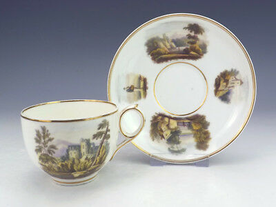 Antique English Pottery - Castle & Pastoral Scene Decorated Cup & Saucer