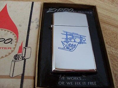 Zippo Slim Lighter ( Un-Known Picture )  Mint And Un-Fired In Box  1970