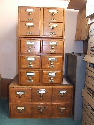 Antique Vintage Wooden Library 4 Drawer Card Index Filing Cabinet Advance System