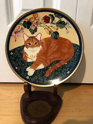 "Special Gifts by Crowning Touch Cat  Collector's Plate 8"" round, gold trim"