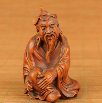 rare old chinese Boxwood Blessing buddha statue netsuke lucky gift home deco