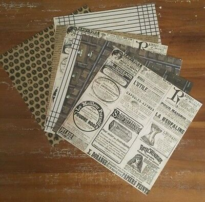 8 x square sheets vintage designs paper craft scrapbook cards projects acid free