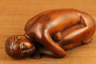 Big rare old chinese Boxwood Blessing Belle girl statue netsuke home decoration