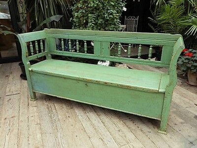 Wow!! Old Antique Pine/ Painted Hungarian Storage Box Bench/settle. We Deliver!