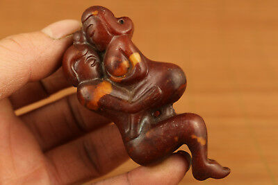 Rare old jade hand carved sexual culture pendant netsuke collect statue