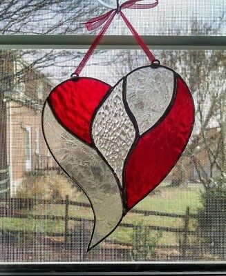 Stained Glass Heart Suncatcher, Valentines Day Gift, Red Heart Ornament