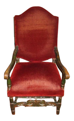 Antique Red Mohair French Throne Chair C 1880 Library Chair Arm Chair
