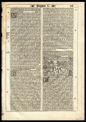 1539 Latin Bible Leaf 1st Kings Chap 23 Woodcut David  Covenant Before The Lord