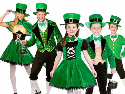 Adult Kids Irish St Patricks Day Outfit Leprechaun Fancy Dress Costume New