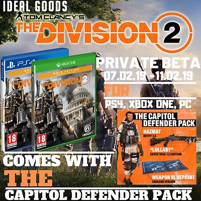 THE DIVISION 2 Private-BETA w/ Capitol Pack PS4, XBOX, PC