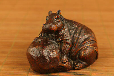 Rare chinese old boxwood hand carved hippo statue netsuke collectable