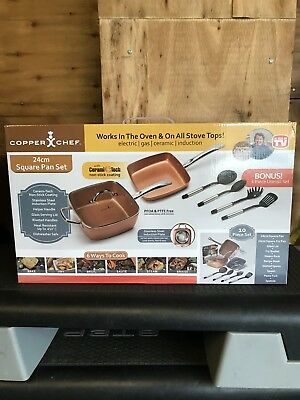 "Copper Chef (10 piece) Non-Stick 9.5"" Large Deep sided Square Pan Kit"