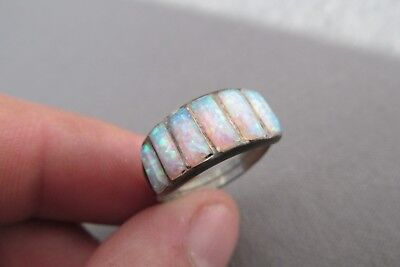 Vintage Sterling Rectangle Stack Cabochon 6 Row Opal Ring