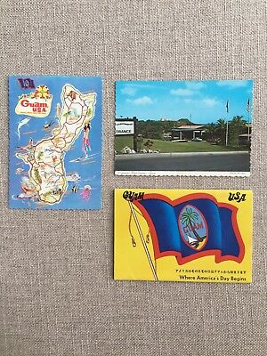 GUAM USA Lot Of 2 Vintage Postcards 1 Folder