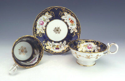 Antique English Porcelain - Floral Cobalt Blue & Gilt Two Cup Trio - Nice!