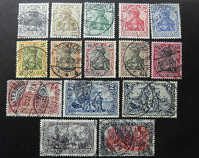"""GERMANY,GERMANIA D.REICH 1902 """" figure Allegorie"""" 15 Valori cpl set USED"""