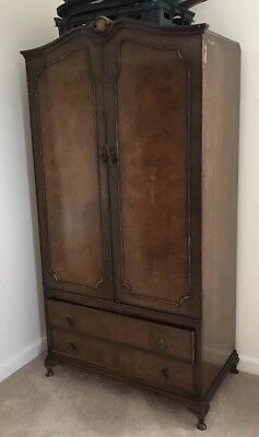Lovely Antique Double Wardrobe Mahogany With Brass finial, Handles 2 Drawers