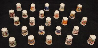 Franklin Mint Country Store Advertising Thimble Collection 25 pieces FP 1980