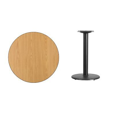 30-inch Round Laminate Table Top with Table Height Base - Black