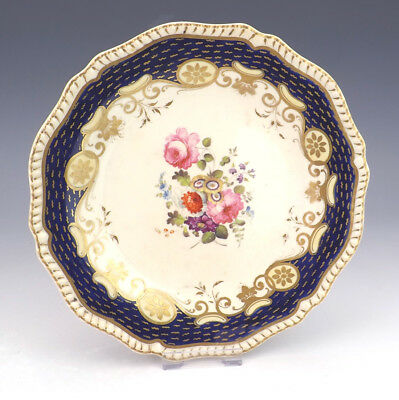 Antique English Pottery Flower Painted Cobalt Blue & Gilt Plate - Early!