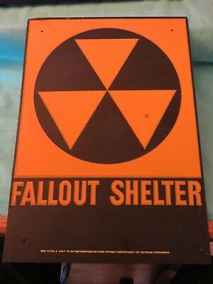 Fallout Shelter - Dod Metal Sign - Original -14 X 10 1960's No 2 Nuclear Vintage