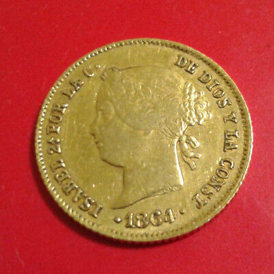 ISABEL II SPANISH PHILIPPINES Spain Filipinas 4 Peso 1864 GOLD COIN