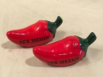 Ceramic Chili Pepper Salt and Pepper Shakers. Souvenir from New Mexico