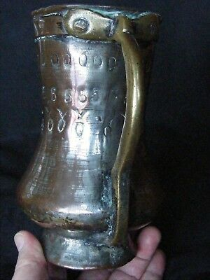 RARE ANTIQUE C 17th / 18th C METAL TANKARD BEER ALE STEIN HANDLE RIVETS
