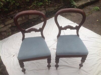 Pair Victorian Style Spoon Back Dining Chairs Upholstered in Light Blue