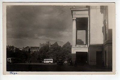 1934 Riga Latvia RPPC Large Building, Bus, Stamp, Sent To USA