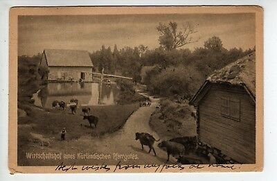 "1931 Latvia, Cows, Farm Scene, Message: ""Hard Times"", Stamp, To USA"