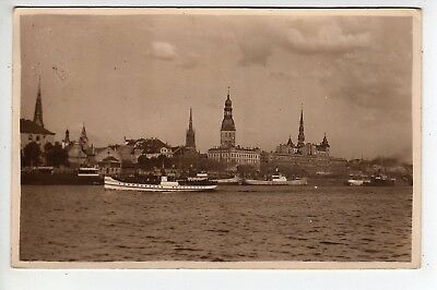1930 Riga Latvia Waterfront RPPC, Stamp, Sent To Brooklyn New York