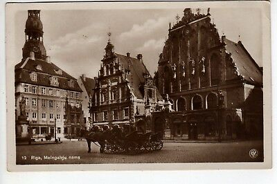 1930 Riga Latvia RPPC Melngalvju, Stamp, New York City USA