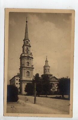 1927 Latvia RPPC Church, Stamp