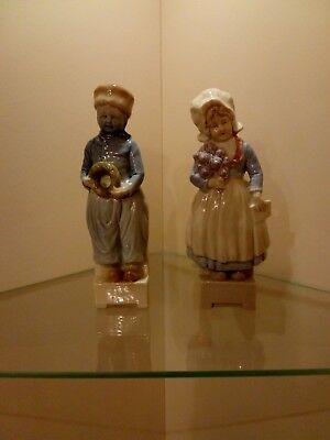 Antique Flat Back Porcelain Pair Of Figurines Dutch Boy And Girl