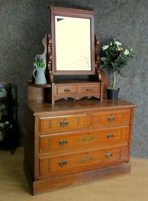 Edwardian Walnut Ornate Painted Dressing Table With Mirror