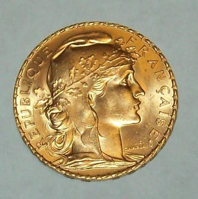 1909 20 France 20 Francs Gold Coin 6.45 Grams .900 Gold Coin Km# 857 Bu Ms