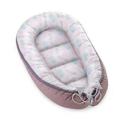 Baby Nest Sleeping Pod Newborn Nest High Quality Soft Cotton Turquoise Feathers
