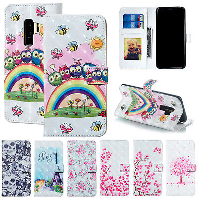 For Samsung Galaxy S8 S9 Plus S7 Flip Slim Leather Wallet Cover Stand Phone Case