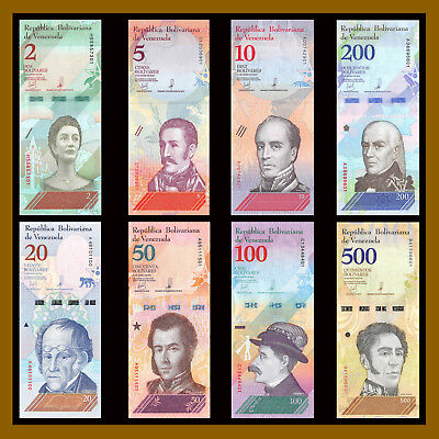 Venezuela 2 5 10 20 50 100 200 500 Bolivares Soberanos (8 Pcs Full Set) 2018 New